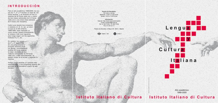 Tríptico informativo Istituto Italiano di Cultura