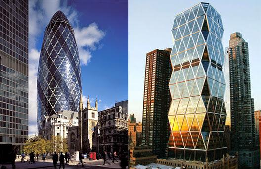 A la izquierda The Gherkin (El Pepinillo) en Londres, a la derecha la torre Hearst de Norman Foster en Nueva York.