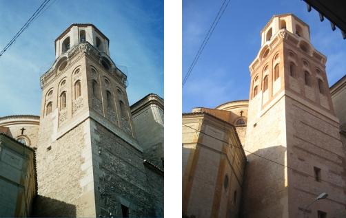 Estado previo y restaurado de la torre.