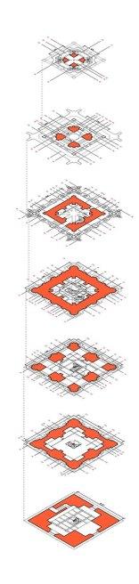 Secuencia de plantas de los distintos niveles (vistas en isométrico).